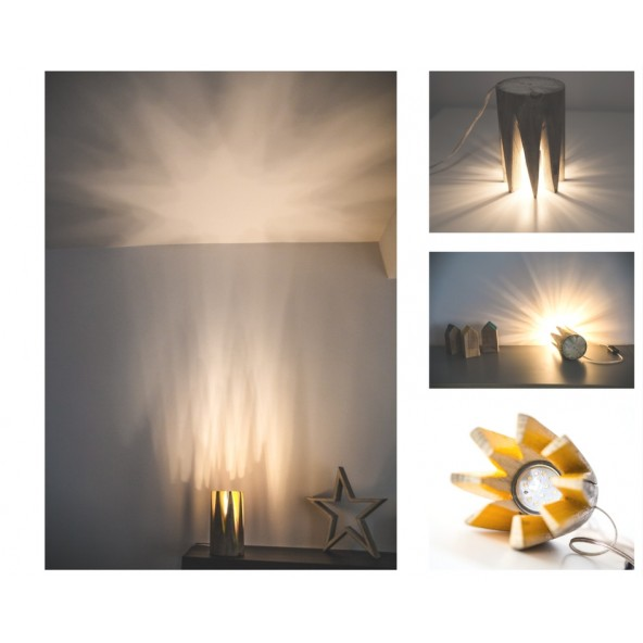 Star Light Veioza Decorativa Solara Lemn Reciclat Led GU10